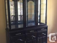 Beautiful Dark Brown Solid Mahogany Hutch and Table & 6