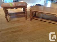 Solid maple coffee and one end table in good condition.