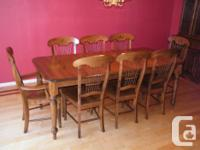 Solid Maple Custom Made Dining Table, Chairs, Buffet
