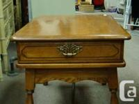 """Charming solid maple end table with drawer. 21""""h x 21""""w"""
