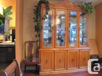 Solid Oak China Cabinet and Hutch. Dimensions are