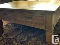 Solid Oak Coffee Table, 2 End Tables and matching Curio