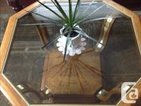 """Oak Coffee Table with Smoked Glass Top 38"""" x 38"""" x 16"""""""