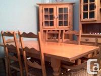 SOLID OAK DINING ROOM SET - QUEBEC HERITAGE STYLE