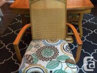 Medium Oak dining set with 8 cane style wicker back