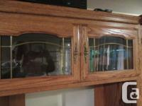 Oak entertainment centre and Display Wall unit with, used for sale  British Columbia