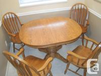 """Square Round Solid Oak Table (42""""x48"""") with four Bent"""