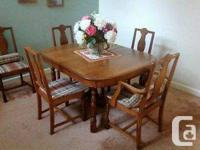 1900's Solid Oak Antique Table, + Chairs and Hutch.