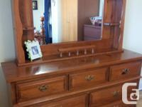 Five piece solid pine bedroom set includes queen size