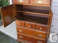 solid pine tall boy dresser with 4 drawers and cupboard