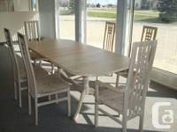 Solid Wood Bleached Oak 7 Pc. Dining Table Set with