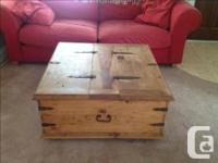 Large square solid wood (heavy) coffee table. Measures