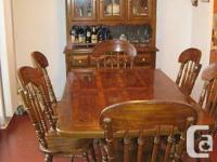 Solid elm wood country style dining table with 6
