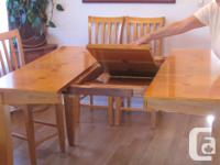 Solid wood (light oak colour) counter height dining