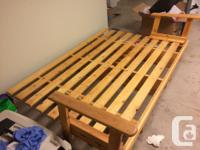 Hand-made solid wood futon frame, converts from couch