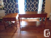 Clean lined matching SOLID WOOD Sofa Table and End