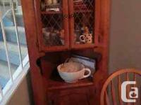 SOLID MAPLE CORNER CUPBOARD THANKS TO GLASS DOORS ON
