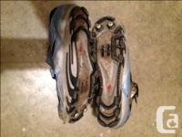 A pair of size 41 Ladies mtn. biking shoes. Light blue