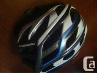 Blue and white, ladies Propero road cycling helmet. In