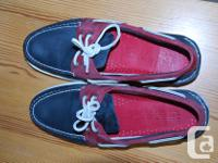 Leather, Navy and Red. Hardly worn. Non-slip and
