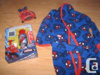Spiderman lot includes: 1) Spiderman Bathrobe - son