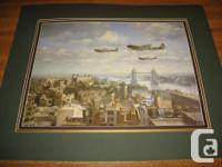 Open edition aviation art print titled Spitfires over