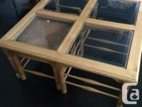 Solid pine, square coffee table with beveled glass, and