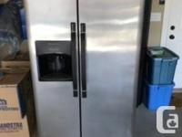 Stainless steel fridge double door with water and ice