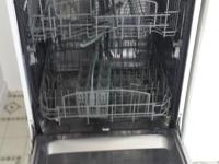White portable dishwasher with stainless steel