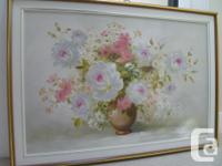 Vintage Still Life Flower Painting (oil on canvas) by