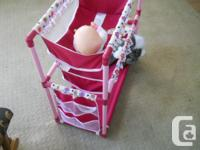 Kid's storage shelves with soft cloth basket. In very