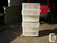 """PLASTIC STORAGE CABINETS FOR SALE. MEASURE 25"""" HIGH,"""