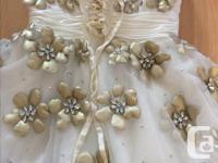 Terani Couture prom dress. White glitter overlay.
