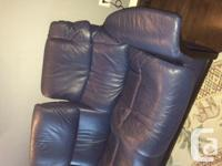 Ekornes Stressless sofa in blue Paloma Leather. New