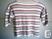 Strip V-Neck Short Sleeve Knit Top - size M/L,