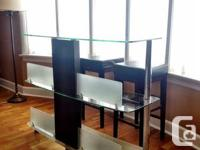 Structube Glass Bar and two leather stools:  The bar