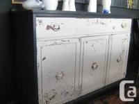 Lovely 3 Door Antique Sideboard - Artisan Milk Painted