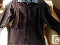 Chocolate brown Danier woman's suede leather jacket.