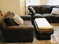 Soft dark brown suede leather couch, armchair and