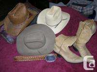 2 straw hats size 7-71/4 1 Resistol hat 7-71/4 belt and