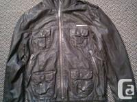 Superdry Brad leather jacket brownish guys size huge.