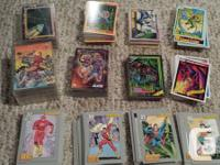 Box loaded with superhero cards. Marvel, DC, and also