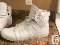 All white shoe red bottom high top very lightly used