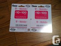 i have two 35$ T-Mobile top up cards for sale, my mom