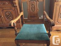 Solid wood dining room suite, very good condition.