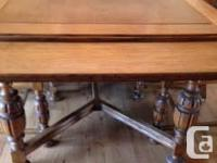 Antique solid oak dining table and 4 chairs with sage