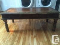Indian imported solid wood and copper coffee table for