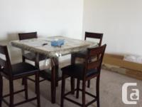 Wood Eating Table (High) with 4 chairs in excellent