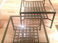 "Metal & Glass Rectangular Coffee Table 30.5"" x 46.5"" -"