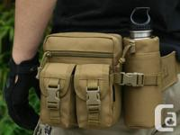 Tactical Waist Bag with Water Bottle Holder Pouch -